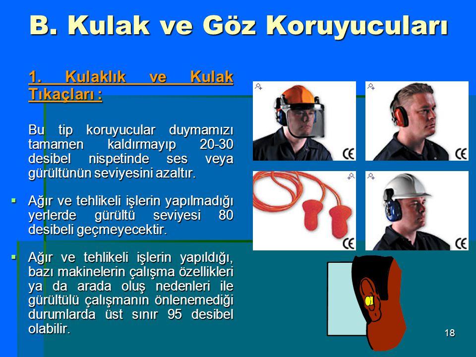 18 B. Kulak ve Göz Koruyucuları 1. Kulaklık ve Kulak Tıkaçları : Bu tip koruyucular duymamızı tamamen kaldırmayıp 20-30 desibel nispetinde ses veya gü