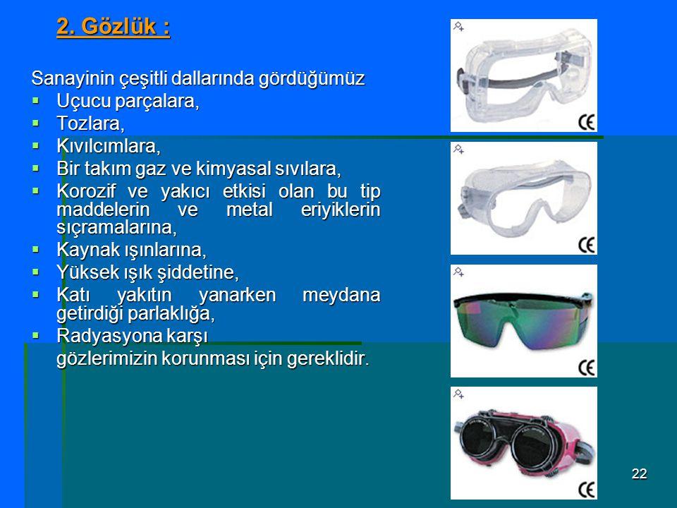 22 2. Gözlük : Sanayinin çeşitli dallarında gördüğümüz  Uçucu parçalara,  Tozlara,  Kıvılcımlara,  Bir takım gaz ve kimyasal sıvılara,  Korozif v