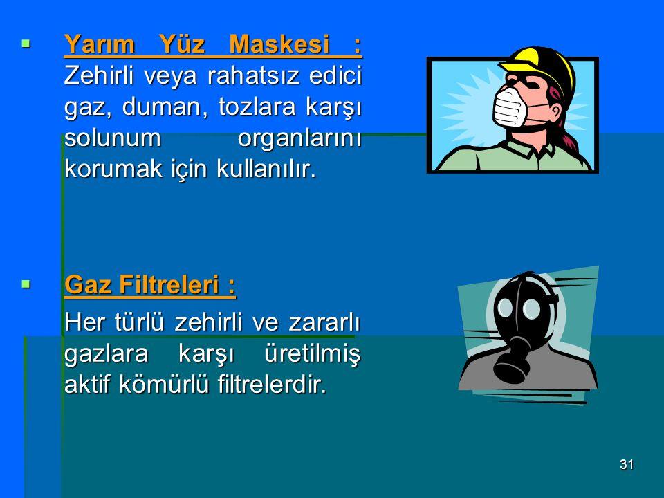 31  Yarım Yüz Maskesi : Zehirli veya rahatsız edici gaz, duman, tozlara karşı solunum organlarını korumak için kullanılır.  Gaz Filtreleri : Her tür