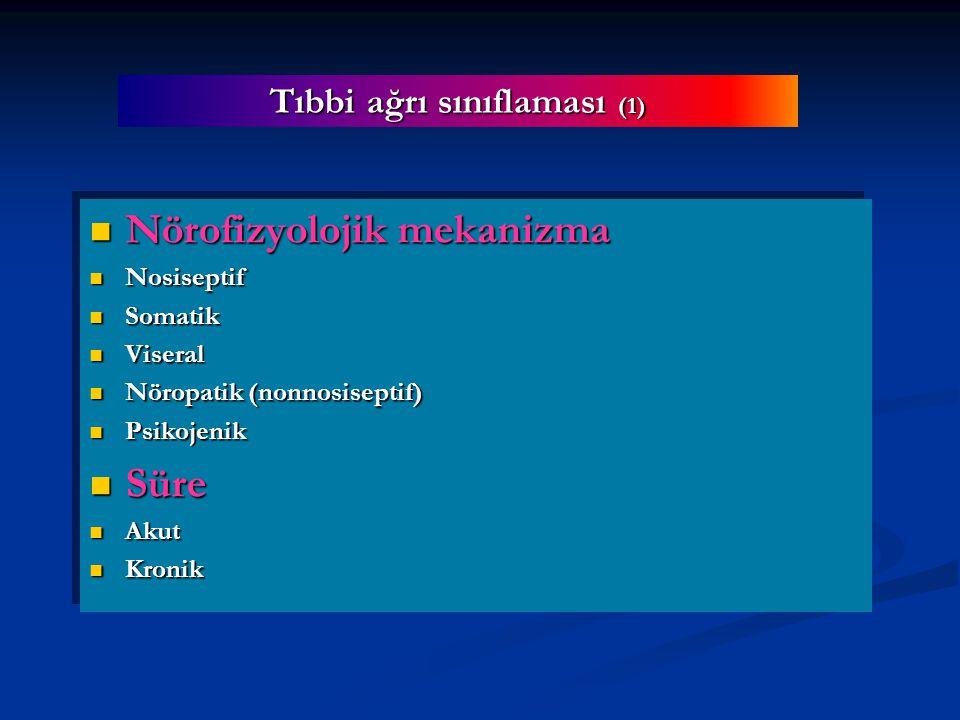 Tıbbi ağrı sınıflaması (1) Nörofizyolojik mekanizma Nörofizyolojik mekanizma Nosiseptif Nosiseptif Somatik Somatik Viseral Viseral Nöropatik (nonnosiseptif) Nöropatik (nonnosiseptif) Psikojenik Psikojenik Süre Süre Akut Akut Kronik Kronik Nörofizyolojik mekanizma Nörofizyolojik mekanizma Nosiseptif Nosiseptif Somatik Somatik Viseral Viseral Nöropatik (nonnosiseptif) Nöropatik (nonnosiseptif) Psikojenik Psikojenik Süre Süre Akut Akut Kronik Kronik