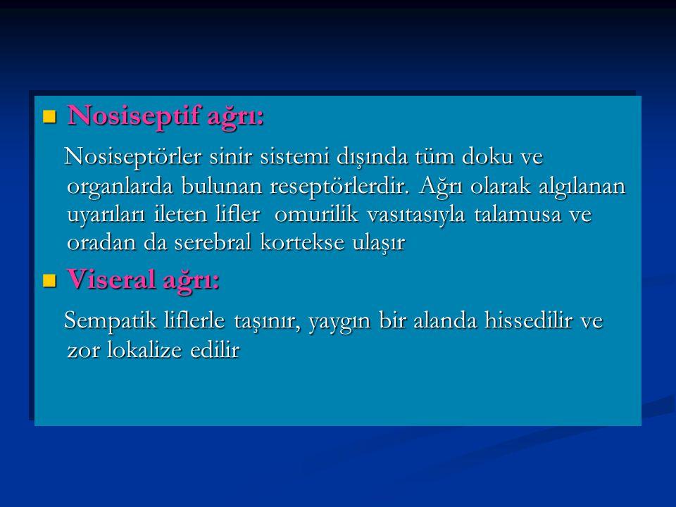 Nosiseptif ağrı: Nosiseptif ağrı: Nosiseptörler sinir sistemi dışında tüm doku ve organlarda bulunan reseptörlerdir.