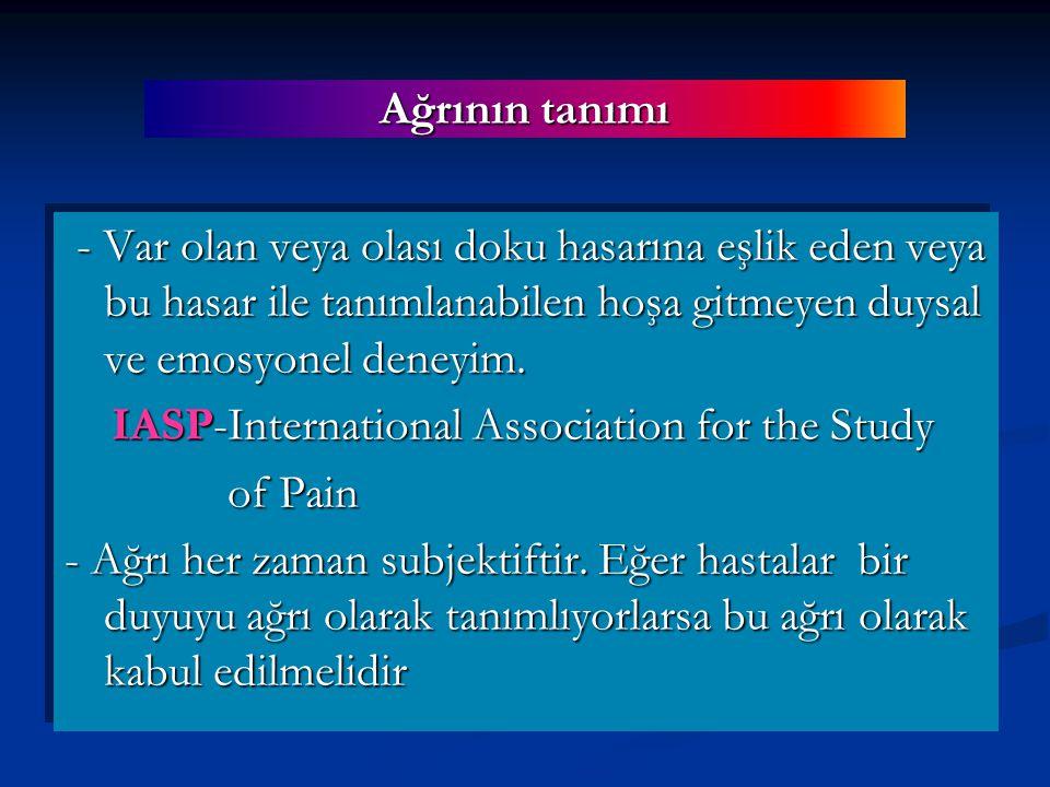 Allodini: Normalde ağrılı olmayan bir uyarının ağrıya neden olması Analjezi: Normalde ağrılı olan bir uyarıının ağrı meydana getirmemesi Anestezia dolorosa: Anestezik bir vücut bölgesinde kendiliğinden ağrının ortaya çıkması Ağrı ile ilgili terimler (1) Hiperpati: Özellikle tekrarlayan bir uyarana karşı eşiğin yükselmesi ile birlikte ağrı cevabının artması