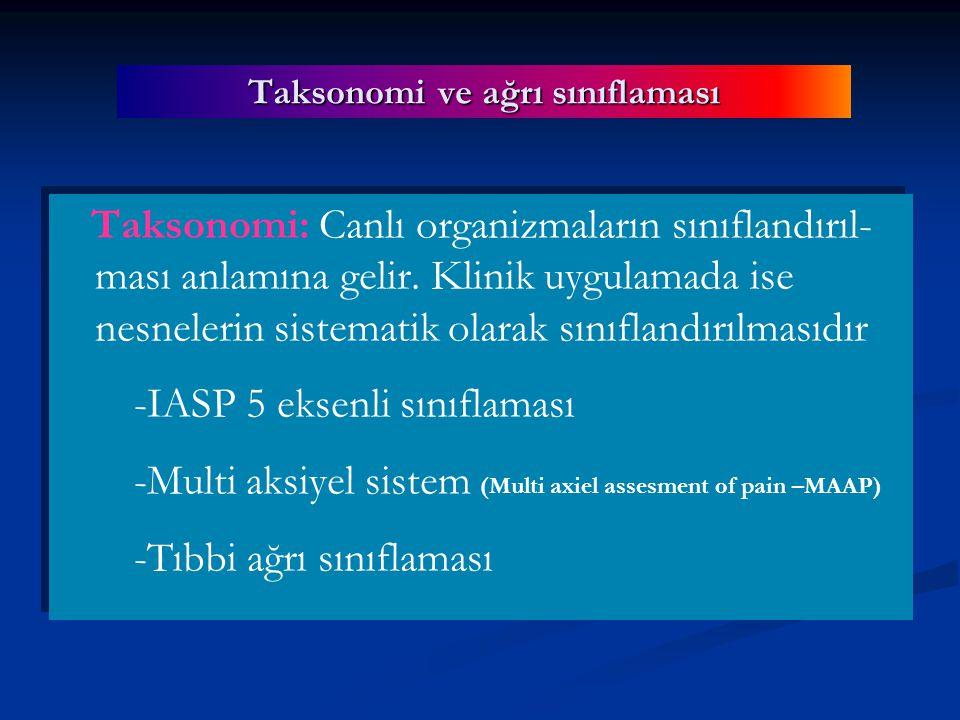 Taksonomi ve ağrı sınıflaması Taksonomi: Canlı organizmaların sınıflandırıl- ması anlamına gelir.