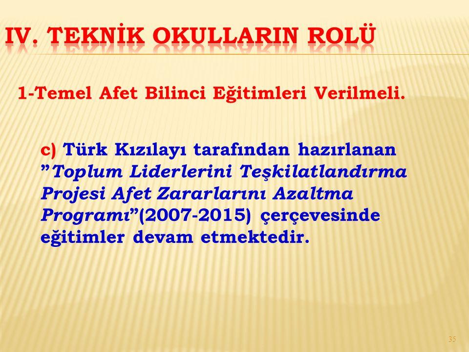 """c) Türk Kızılayı tarafından hazırlanan """" Toplum Liderlerini Teşkilatlandırma Projesi Afet Zararlarını Azaltma Programı """"(2007-2015) çerçevesinde eğiti"""