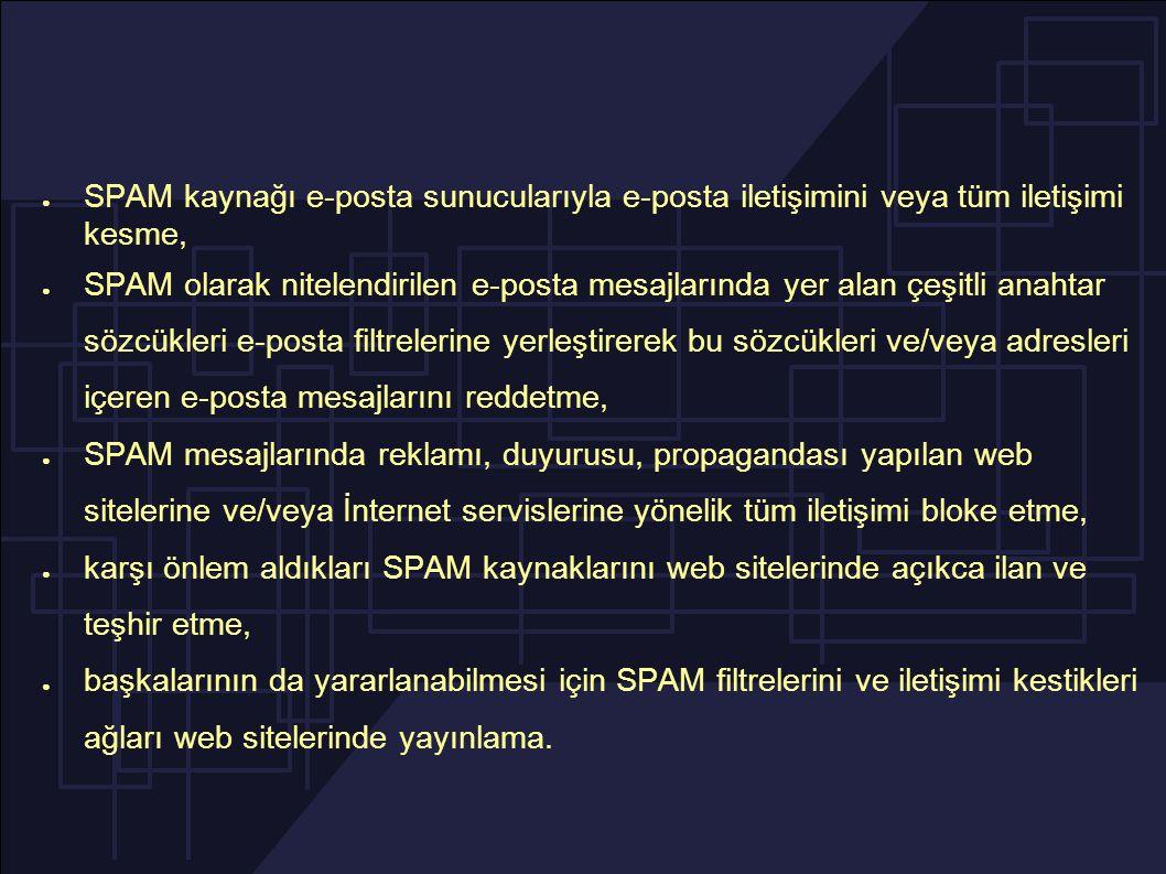 ● SPAM kaynağı e-posta sunucularıyla e-posta iletişimini veya tüm iletişimi kesme, ● SPAM olarak nitelendirilen e-posta mesajlarında yer alan çeşitli anahtar sözcükleri e-posta filtrelerine yerleştirerek bu sözcükleri ve/veya adresleri içeren e-posta mesajlarını reddetme, ● SPAM mesajlarında reklamı, duyurusu, propagandası yapılan web sitelerine ve/veya İnternet servislerine yönelik tüm iletişimi bloke etme, ● karşı önlem aldıkları SPAM kaynaklarını web sitelerinde açıkca ilan ve teşhir etme, ● başkalarının da yararlanabilmesi için SPAM filtrelerini ve iletişimi kestikleri ağları web sitelerinde yayınlama.
