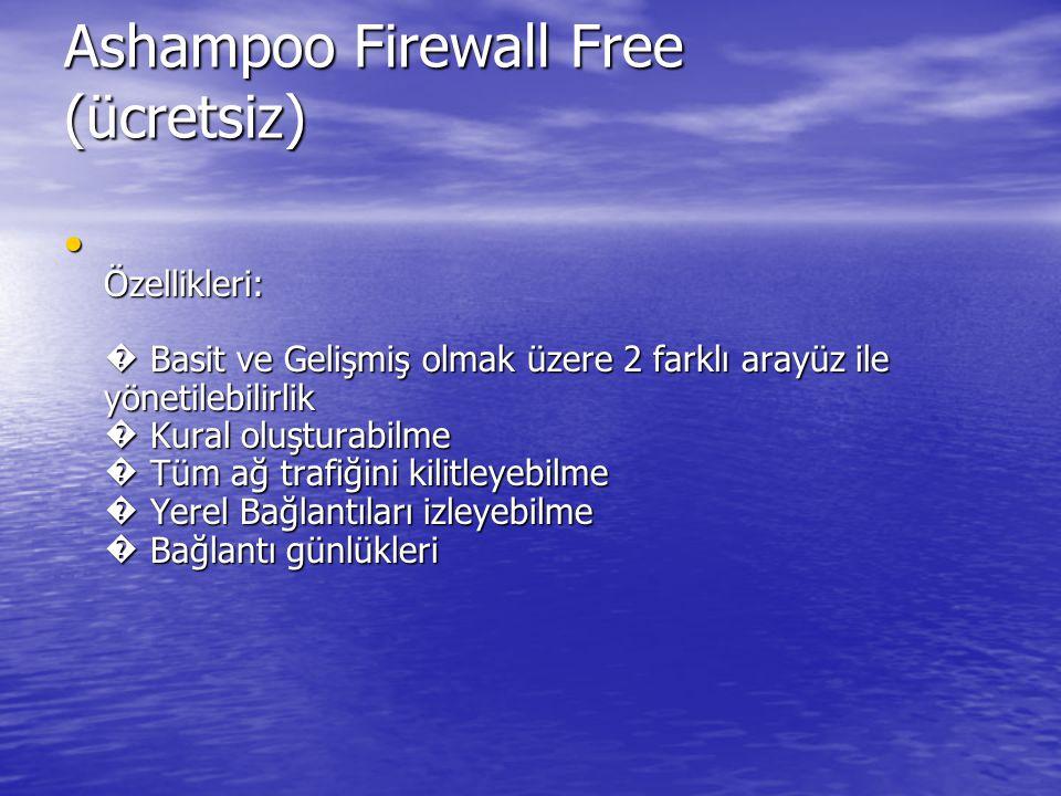 Ashampoo Firewall Free (ücretsiz) Özellikleri: � Basit ve Gelişmiş olmak üzere 2 farklı arayüz ile yönetilebilirlik � Kural oluşturabilme � Tüm ağ trafiğini kilitleyebilme � Yerel Bağlantıları izleyebilme � Bağlantı günlükleri Özellikleri: � Basit ve Gelişmiş olmak üzere 2 farklı arayüz ile yönetilebilirlik � Kural oluşturabilme � Tüm ağ trafiğini kilitleyebilme � Yerel Bağlantıları izleyebilme � Bağlantı günlükleri