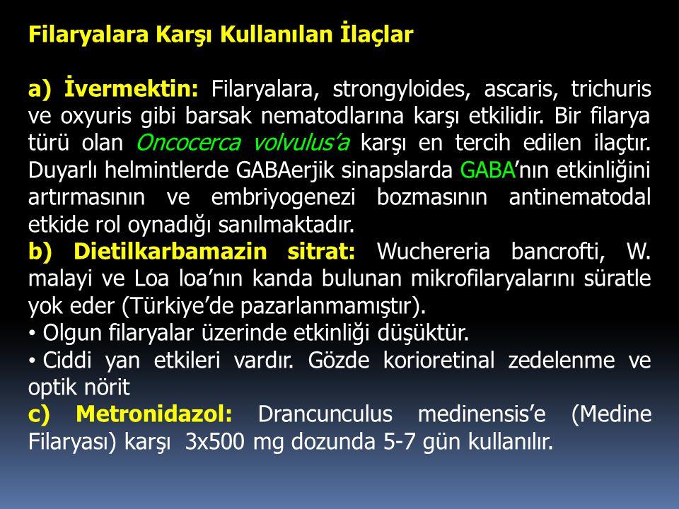 Filaryalara Karşı Kullanılan İlaçlar a) İvermektin: Filaryalara, strongyloides, ascaris, trichuris ve oxyuris gibi barsak nematodlarına karşı etkilidi