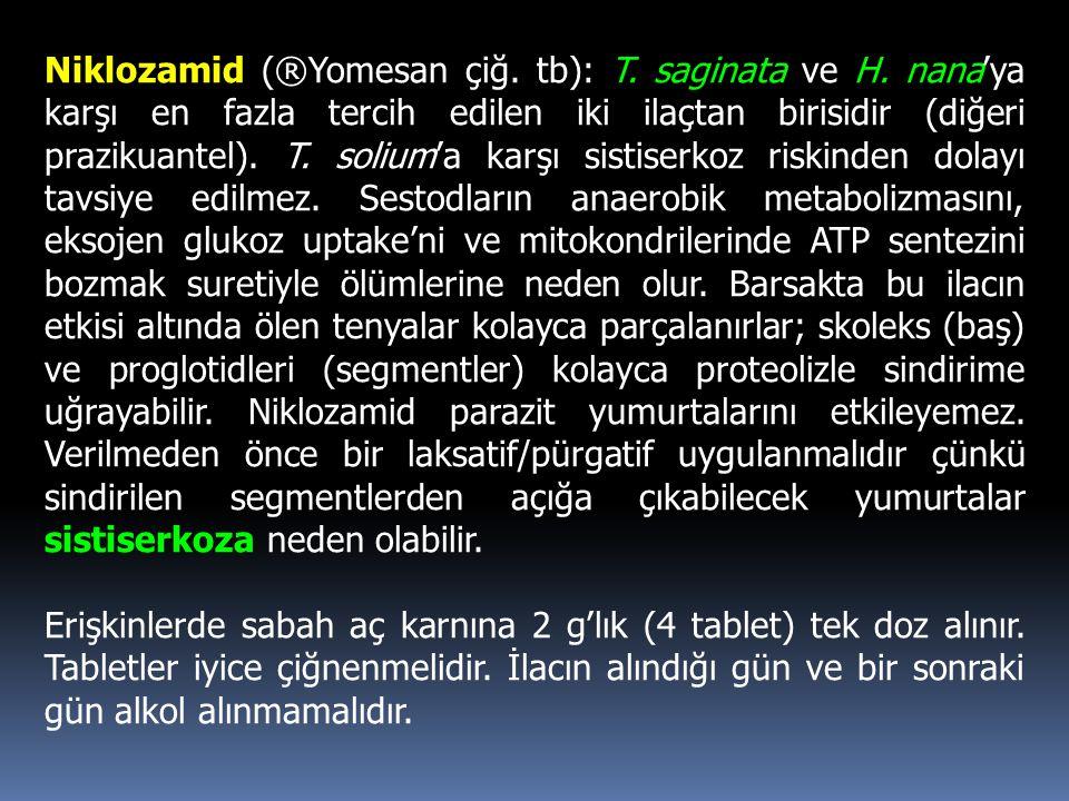 Niklozamid (®Yomesan çiğ. tb): T. saginata ve H. nana'ya karşı en fazla tercih edilen iki ilaçtan birisidir (diğeri prazikuantel). T. solium'a karşı s