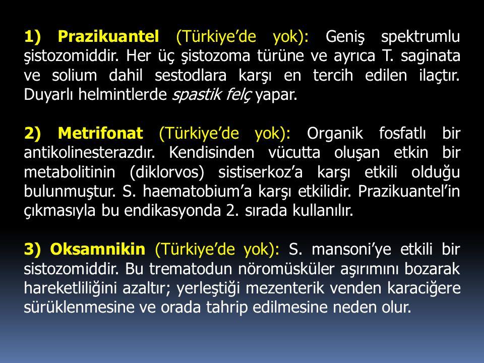1) Prazikuantel (Türkiye'de yok): Geniş spektrumlu şistozomiddir. Her üç şistozoma türüne ve ayrıca T. saginata ve solium dahil sestodlara karşı en te