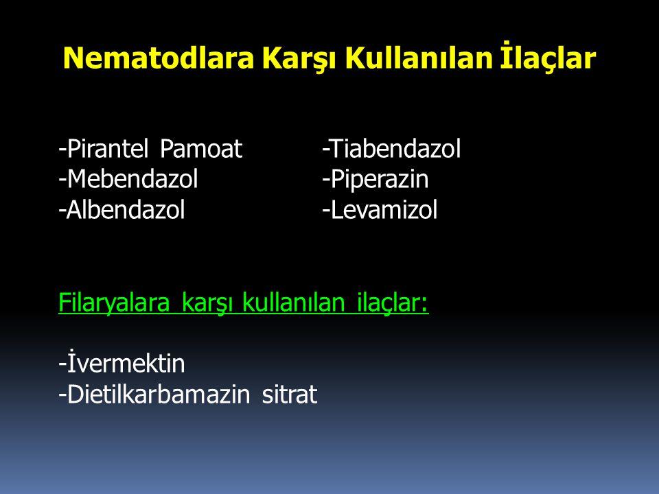 Nematodlara Karşı Kullanılan İlaçlar -Pirantel Pamoat-Tiabendazol -Mebendazol -Piperazin -Albendazol-Levamizol Filaryalara karşı kullanılan ilaçlar: -