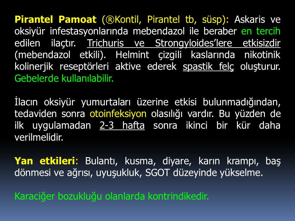 Pirantel Pamoat (®Kontil, Pirantel tb, süsp): Askaris ve oksiyür infestasyonlarında mebendazol ile beraber en tercih edilen ilaçtır. Trichuris ve Stro