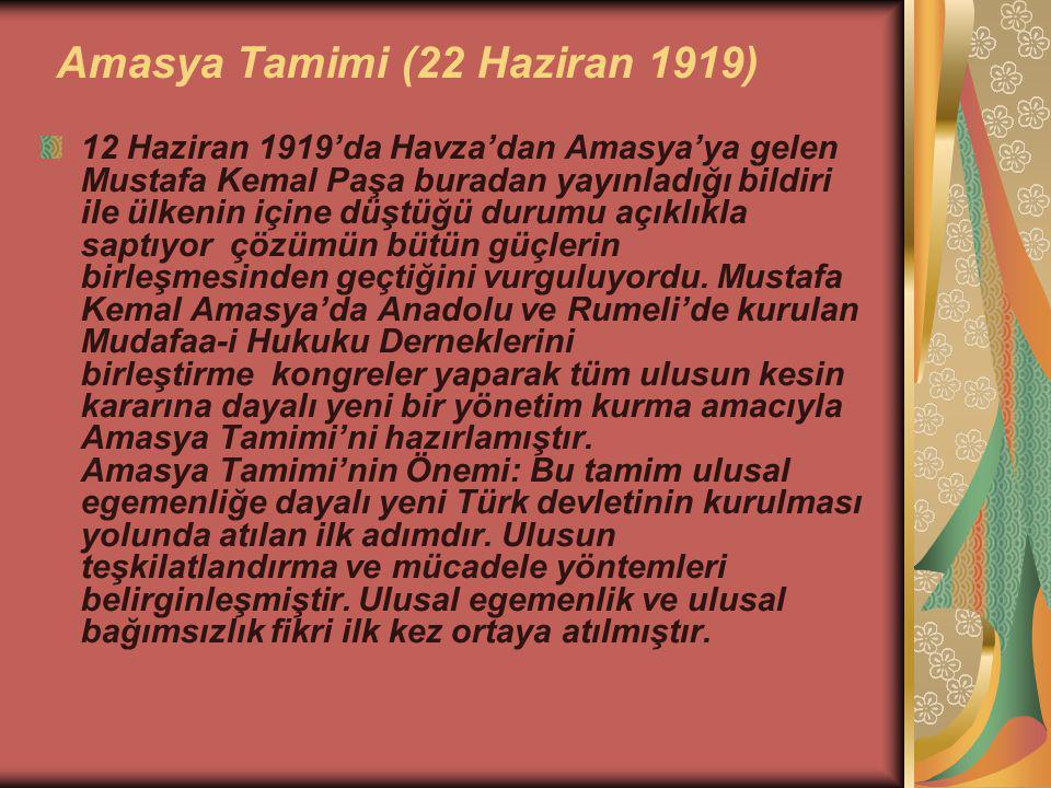 Amasya Tamimi (22 Haziran 1919) 12 Haziran 1919'da Havza'dan Amasya'ya gelen Mustafa Kemal Paşa buradan yayınladığı bildiri ile ülkenin içine düştüğü durumu açıklıkla saptıyor çözümün bütün güçlerin birleşmesinden geçtiğini vurguluyordu.