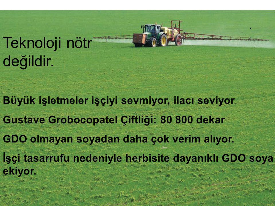 Büyük işletmeler işçiyi sevmiyor, ilacı seviyor Gustave Grobocopatel Çiftliği: 80 800 dekar GDO olmayan soyadan daha çok verim alıyor. İşçi tasarrufu