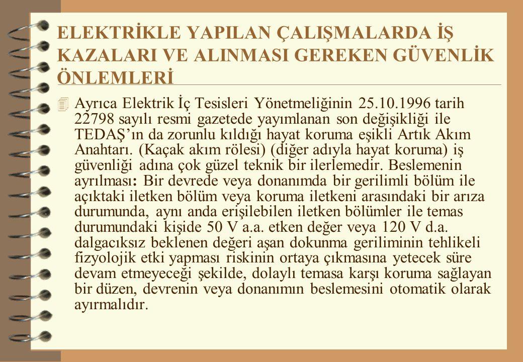 ELEKTRİKLE YAPILAN ÇALIŞMALARDA İŞ KAZALARI VE ALINMASI GEREKEN GÜVENLİK ÖNLEMLERİ  Ayrıca Elektrik İç Tesisleri Yönetmeliğinin 25.10.1996 tarih 2279