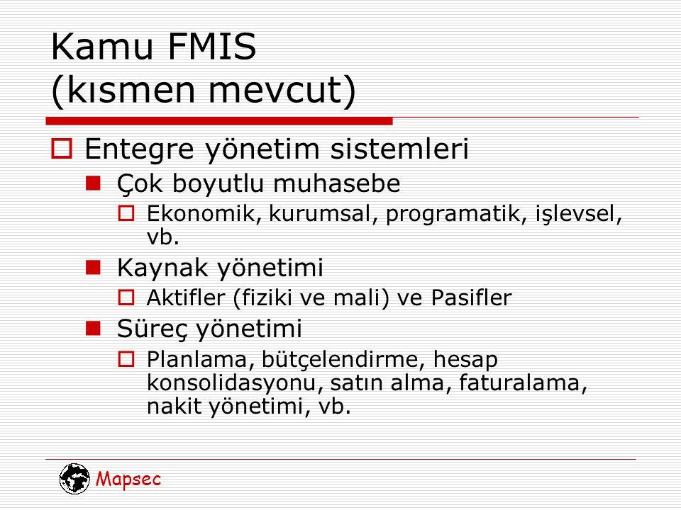 Mapsec Kamu FMIS (kısmen mevcut)  Entegre yönetim sistemleri Çok boyutlu muhasebe  Ekonomik, kurumsal, programatik, işlevsel, vb.