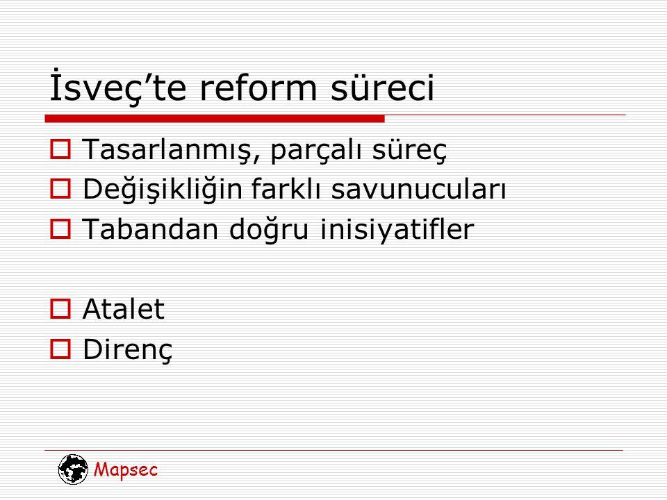 Mapsec İsveç'te reform süreci  Tasarlanmış, parçalı süreç  Değişikliğin farklı savunucuları  Tabandan doğru inisiyatifler  Atalet  Direnç