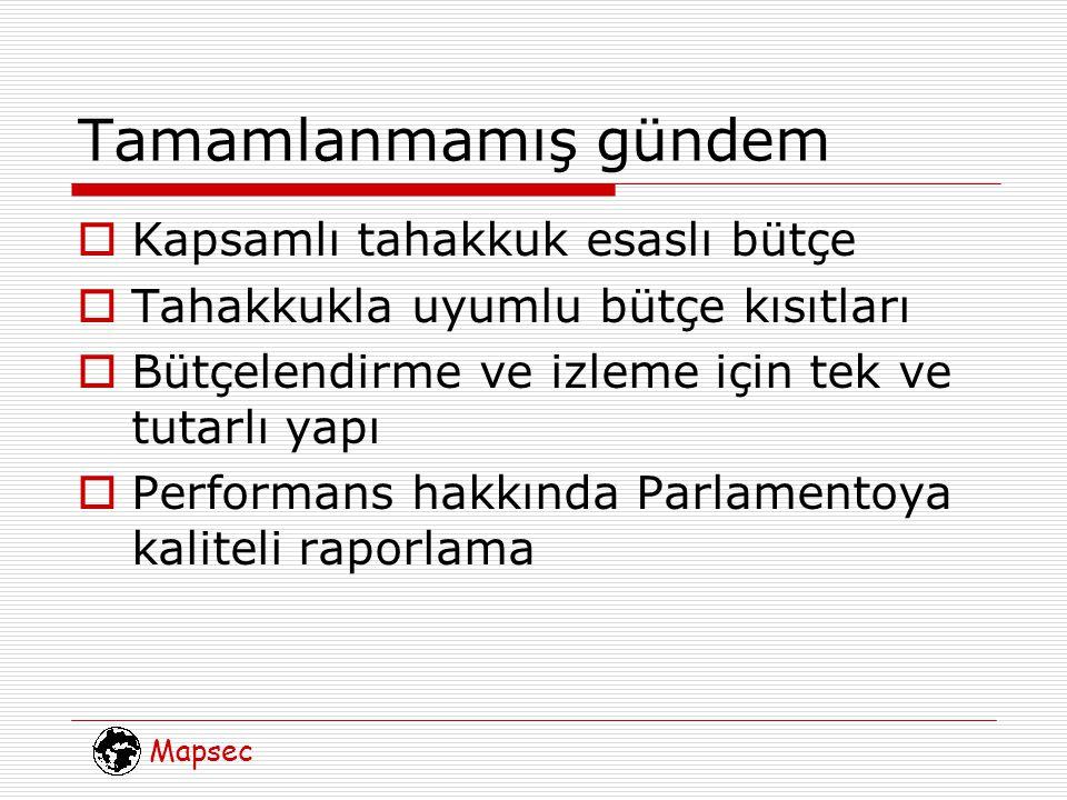 Mapsec Tamamlanmamış gündem  Kapsamlı tahakkuk esaslı bütçe  Tahakkukla uyumlu bütçe kısıtları  Bütçelendirme ve izleme için tek ve tutarlı yapı  Performans hakkında Parlamentoya kaliteli raporlama