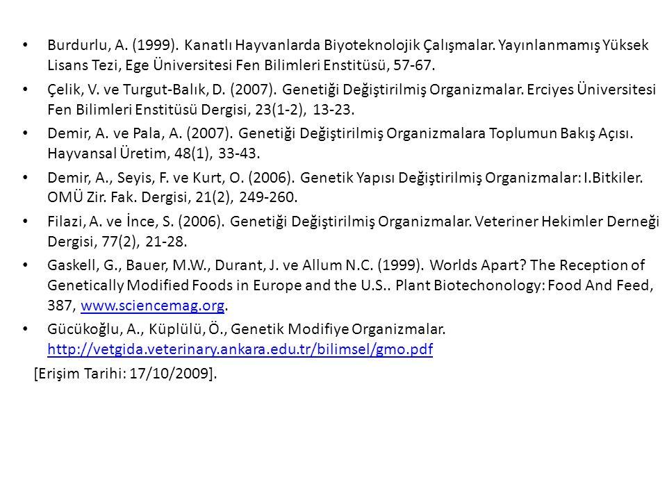 Burdurlu, A.(1999). Kanatlı Hayvanlarda Biyoteknolojik Çalışmalar.