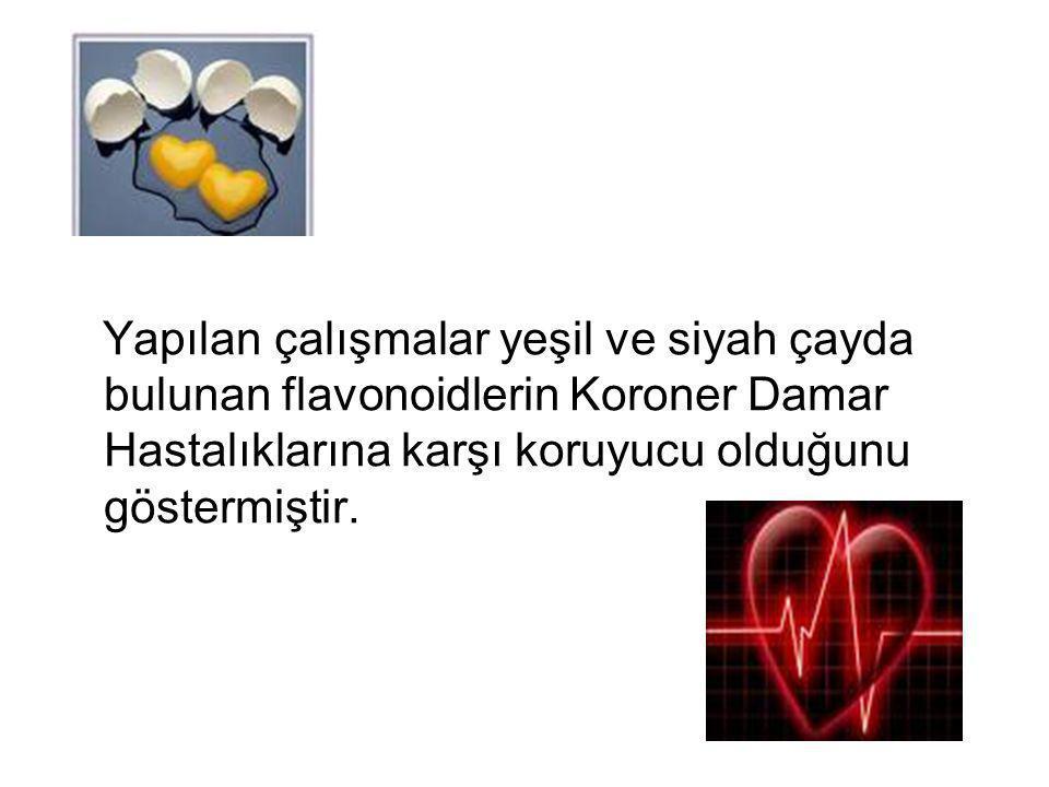 Yapılan çalışmalar yeşil ve siyah çayda bulunan flavonoidlerin Koroner Damar Hastalıklarına karşı koruyucu olduğunu göstermiştir.