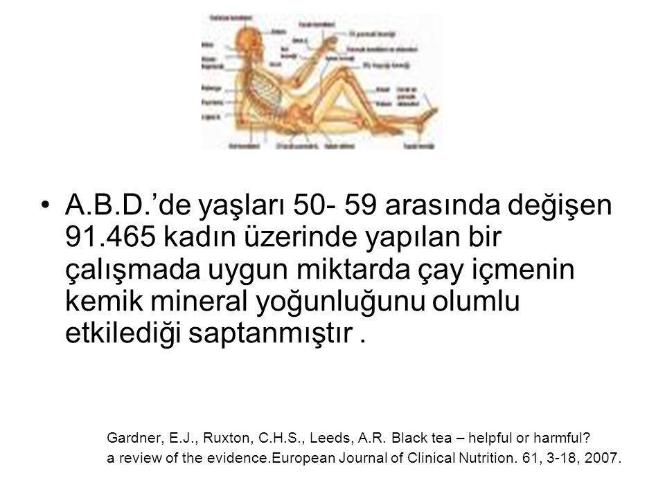 A.B.D.'de yaşları 50- 59 arasında değişen 91.465 kadın üzerinde yapılan bir çalışmada uygun miktarda çay içmenin kemik mineral yoğunluğunu olumlu etkilediği saptanmıştır.