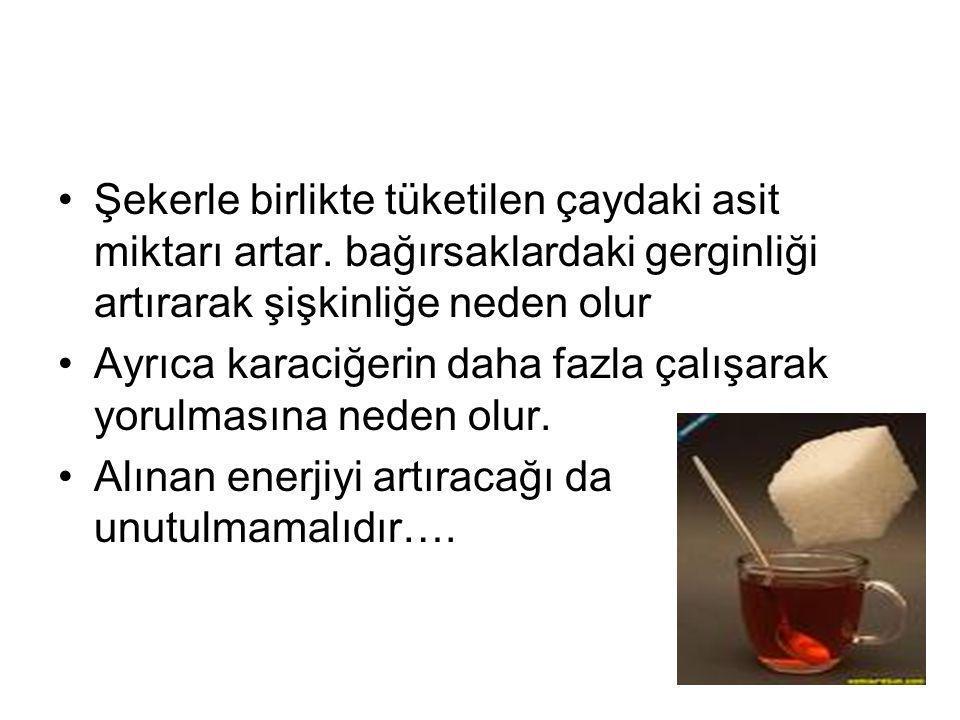 Şekerle birlikte tüketilen çaydaki asit miktarı artar.