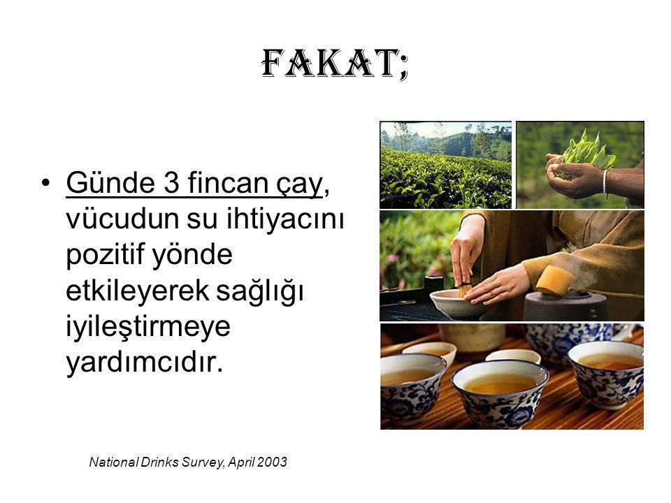 FAKAT; Günde 3 fincan çay, vücudun su ihtiyacını pozitif yönde etkileyerek sağlığı iyileştirmeye yardımcıdır.