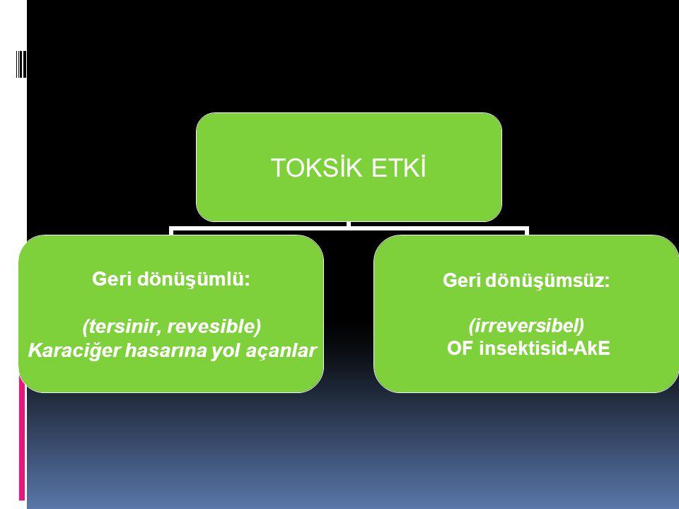 TOKSİK ETKİ Geri dönüşümlü: (tersinir, revesible) Karaciğer hasarına yol açanlar Geri dönüşümsüz: (irreversibel) OF insektisid-AkE
