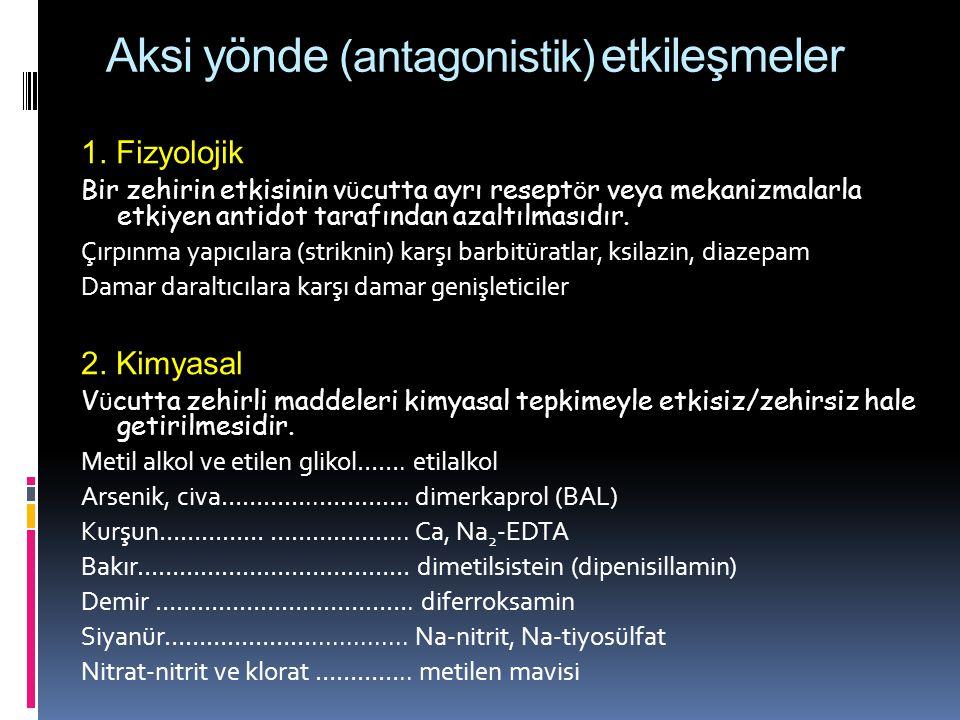 Aksi yönde (antagonistik) etkileşmeler 1. Fizyolojik Bir zehirin etkisinin v ü cutta ayrı resept ö r veya mekanizmalarla etkiyen antidot tarafından az
