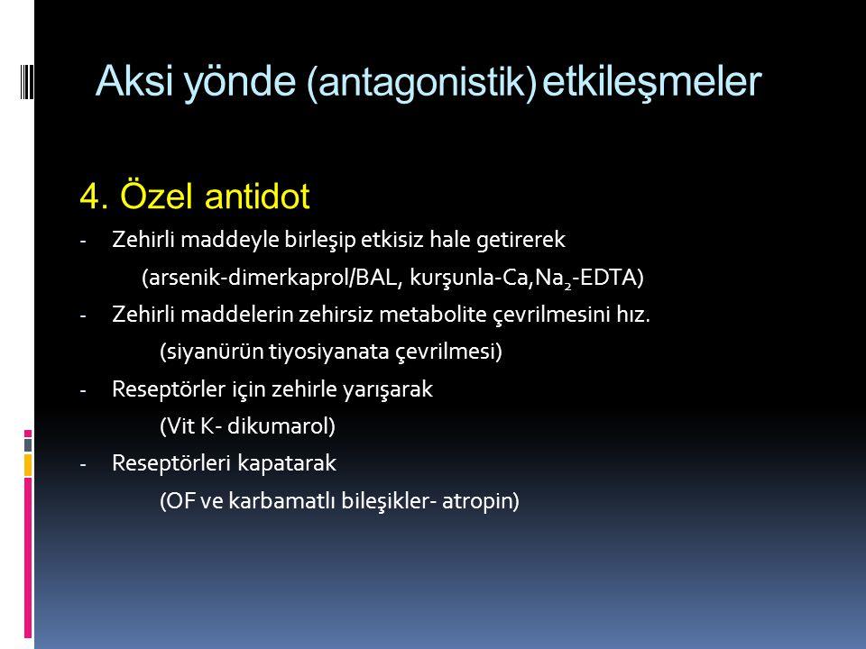 Aksi yönde (antagonistik) etkileşmeler 4. Özel antidot - Zehirli maddeyle birleşip etkisiz hale getirerek (arsenik-dimerkaprol/BAL, kurşunla-Ca,Na 2 -