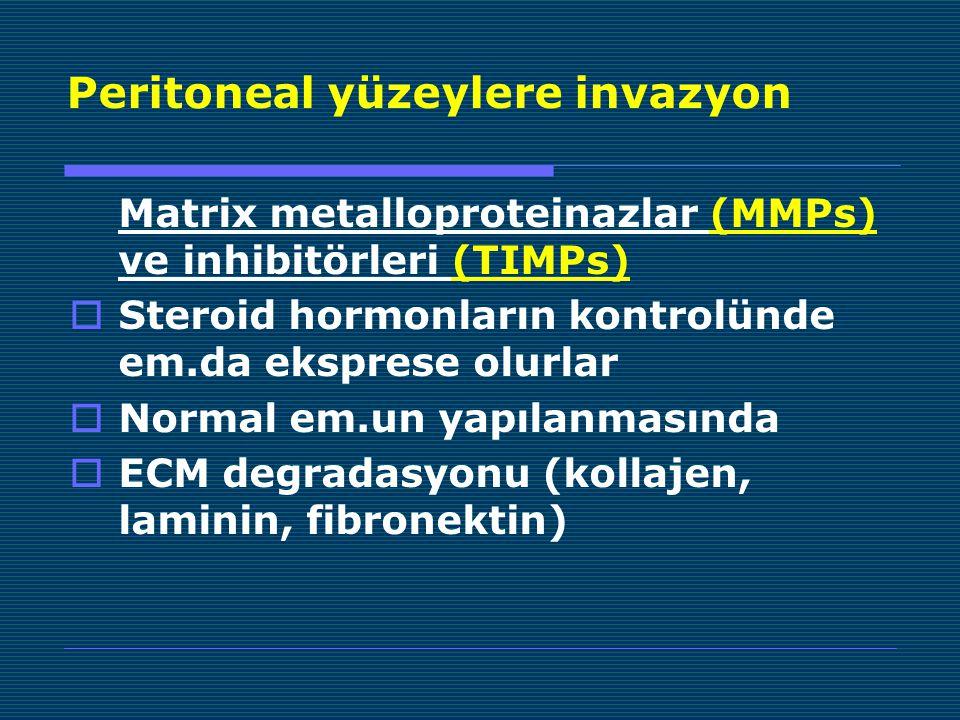 Peritoneal yüzeylere invazyon Matrix metalloproteinazlar (MMPs) ve inhibitörleri (TIMPs)  Steroid hormonların kontrolünde em.da eksprese olurlar  Normal em.un yapılanmasında  ECM degradasyonu (kollajen, laminin, fibronektin)