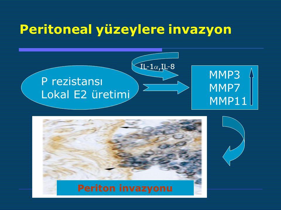 Peritoneal yüzeylere invazyon P rezistansı Lokal E2 üretimi MMP3 MMP7 MMP11 IL-1,IL-8 Periton invazyonu