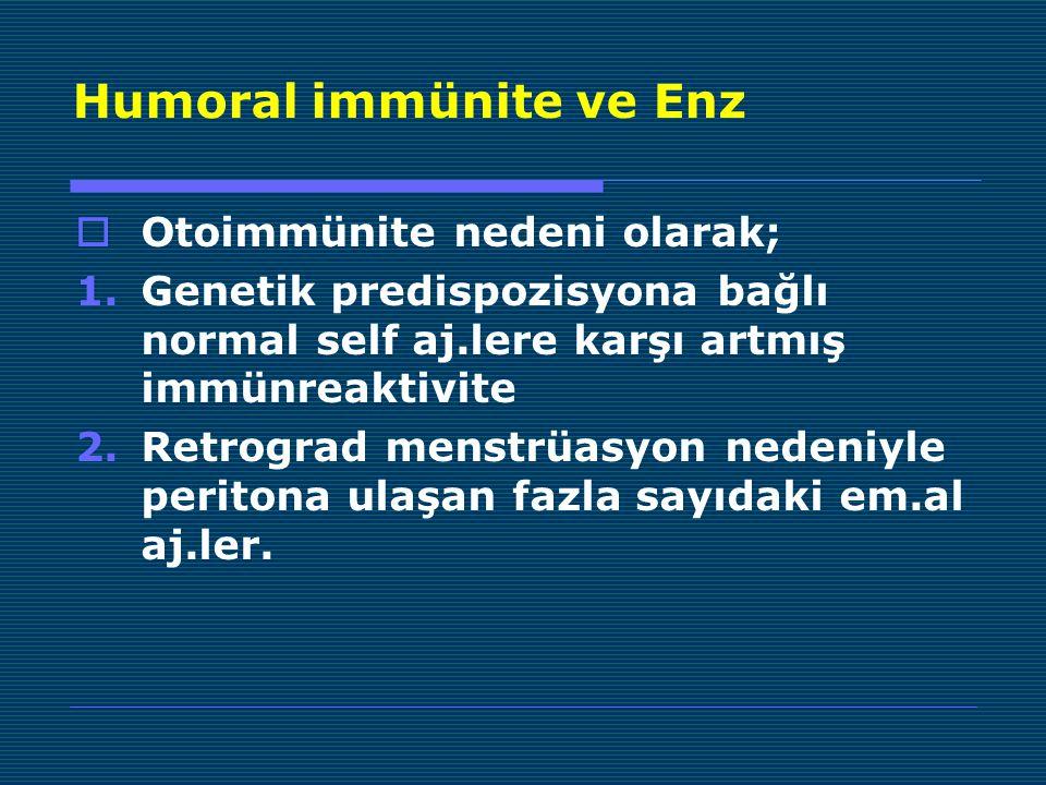 Humoral immünite ve Enz  Otoimmünite nedeni olarak; 1.Genetik predispozisyona bağlı normal self aj.lere karşı artmış immünreaktivite 2.Retrograd menstrüasyon nedeniyle peritona ulaşan fazla sayıdaki em.al aj.ler.