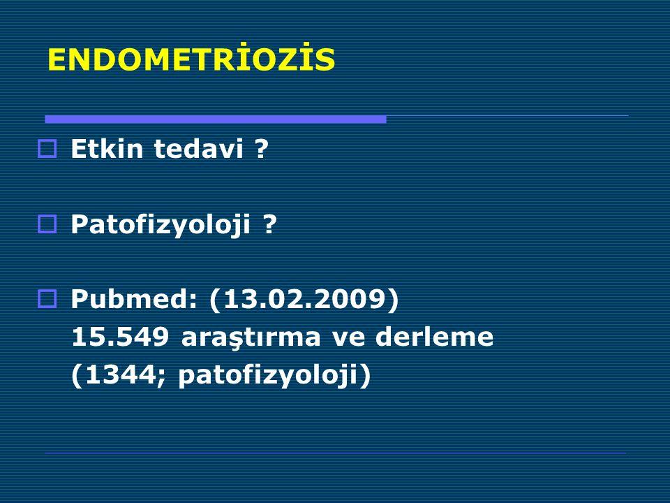 ENDOMETRİOZİS  Peritoneal endometriyozis  Overyan endometriyozis  Rekto-vaginal adenomyotik nodül Fertil Steril 1997;68:585-96