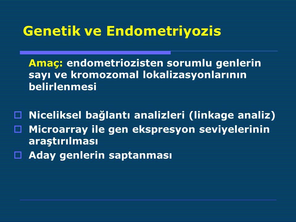 Genetik ve Endometriyozis Amaç: endometriozisten sorumlu genlerin sayı ve kromozomal lokalizasyonlarının belirlenmesi  Niceliksel bağlantı analizleri (linkage analiz)  Microarray ile gen ekspresyon seviyelerinin araştırılması  Aday genlerin saptanması