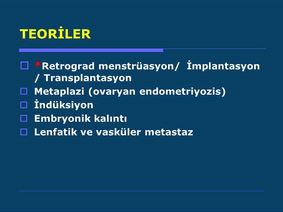 TEORİLER  * Retrograd menstrüasyon/ İmplantasyon / Transplantasyon  Metaplazi (ovaryan endometriyozis)  İndüksiyon  Embryonik kalıntı  Lenfatik ve vasküler metastaz