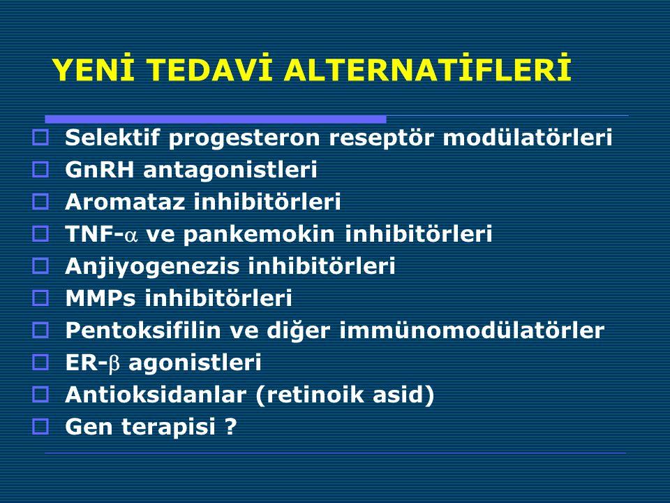 YENİ TEDAVİ ALTERNATİFLERİ  Selektif progesteron reseptör modülatörleri  GnRH antagonistleri  Aromataz inhibitörleri  TNF- ve pankemokin inhibitörleri  Anjiyogenezis inhibitörleri  MMPs inhibitörleri  Pentoksifilin ve diğer immünomodülatörler  ER- agonistleri  Antioksidanlar (retinoik asid)  Gen terapisi ?