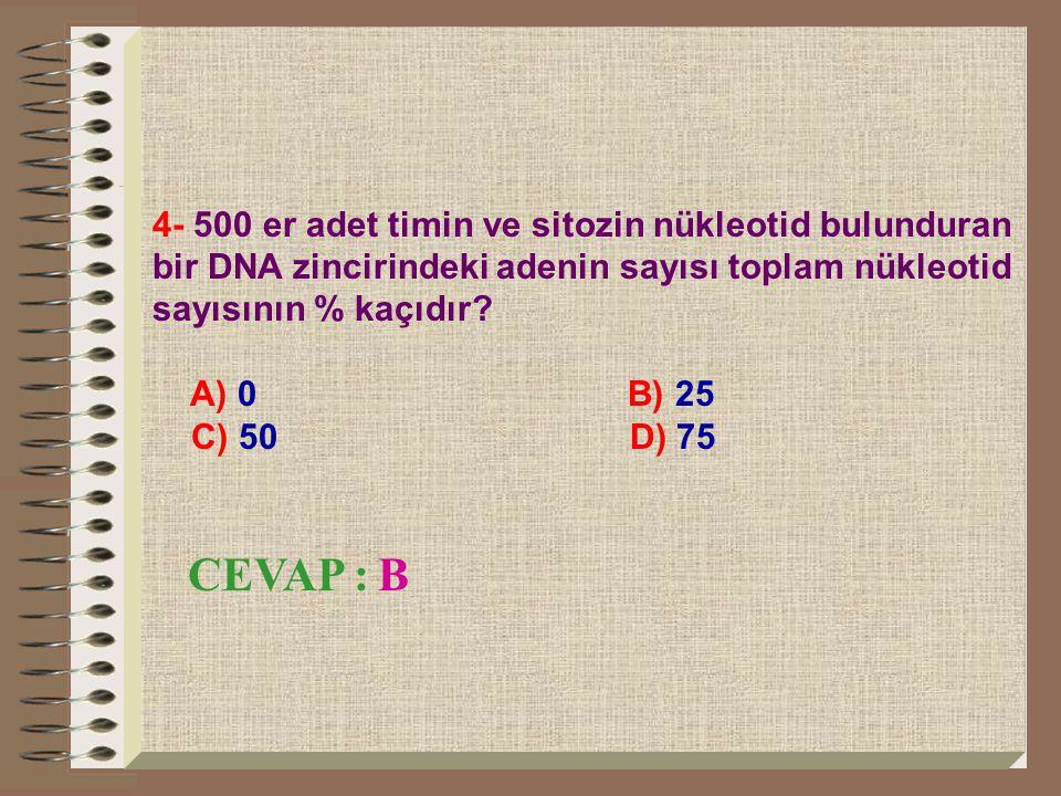 5- DNA molekülünün yapısında en fazla kaç çeşit nükleotid yer alır? A) 4 B) 7 C) 8 D) 5 CEVAP : A