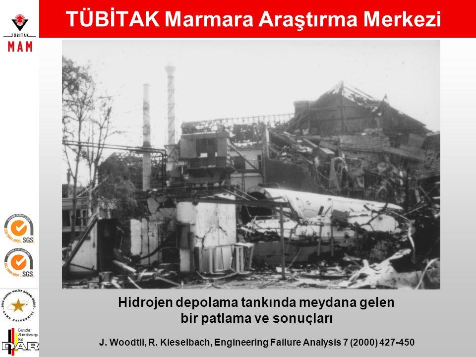 Hidrojen depolama tankında meydana gelen bir patlama ve sonuçları J.