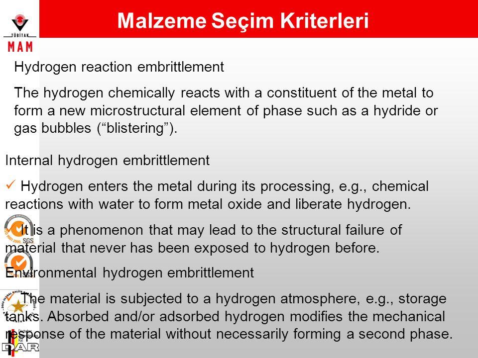 Bazı malzemeler hidrojen ortamına maruz kaldığında yapısal güçlerini önemli ölçüde yitirebilirler. Ortam sıcaklığında, bir grup metalik malzeme, özell