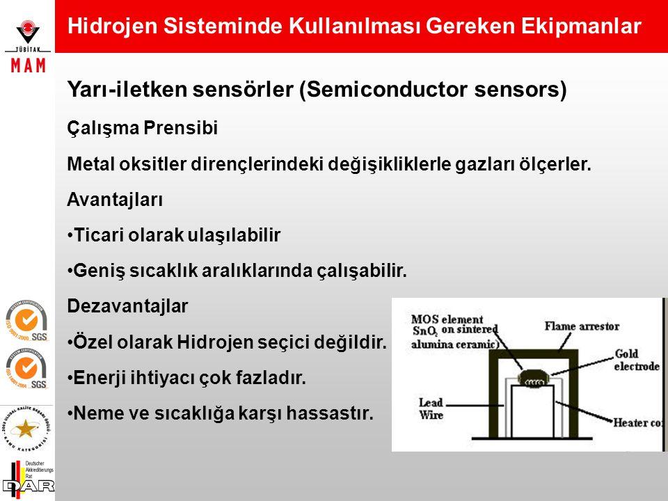 Pelistör sensörler (Catalytic bead sensors) Avantajları Ticari olarak ulaşılabilir. Ucuzdur. Uzun ömürlüdür. (2-4 sene) Geniş sıcaklık aralıklarında ç