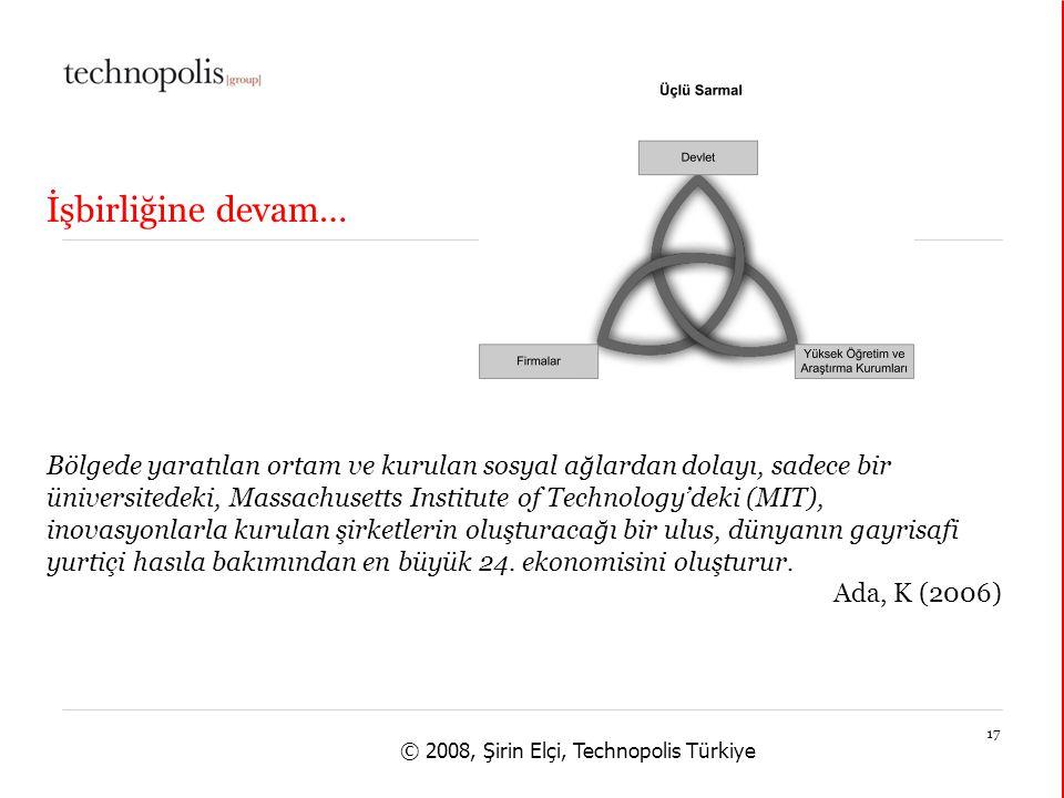 14 janvier 201517 © 2008, Şirin Elçi, Technopolis Türkiye Bölgede yaratılan ortam ve kurulan sosyal ağlardan dolayı, sadece bir üniversitedeki, Massachusetts Institute of Technology'deki (MIT), inovasyonlarla kurulan şirketlerin oluşturacağı bir ulus, dünyanın gayrisafi yurtiçi hasıla bakımından en büyük 24.