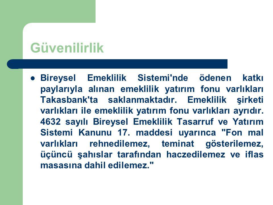 Güvenilirlik Bireysel Emeklilik Sistemi'nde ödenen katkı paylarıyla alınan emeklilik yatırım fonu varlıkları Takasbank'ta saklanmaktadır. Emeklilik şi