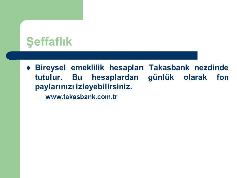 Şeffaflık Bireysel emeklilik hesapları Takasbank nezdinde tutulur. Bu hesaplardan günlük olarak fon paylarınızı izleyebilirsiniz. – www.takasbank.com.