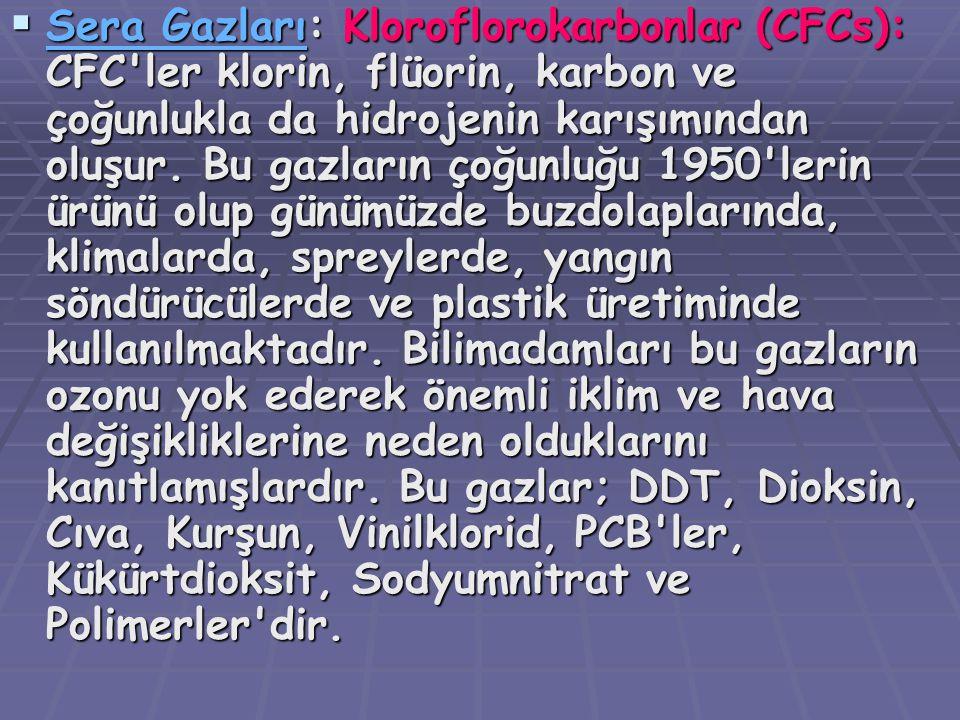 SSSS eeee rrrr aaaa G G G G aaaa zzzz llll aaaa rrrr ıııı: Kloroflorokarbonlar (CFCs): CFC'ler klorin, flüorin, karbon ve çoğunlukla da hidrojenin
