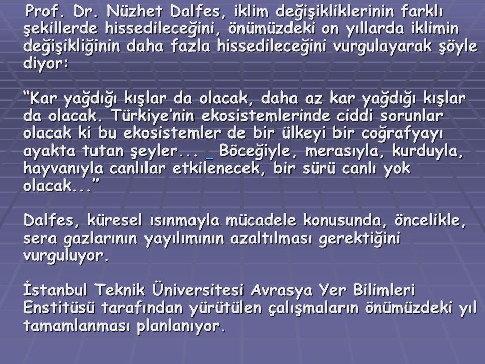 Prof. Dr. Nüzhet Dalfes, iklim değişikliklerinin farklı şekillerde hissedileceğini, önümüzdeki on yıllarda iklimin değişikliğinin daha fazla hissedile