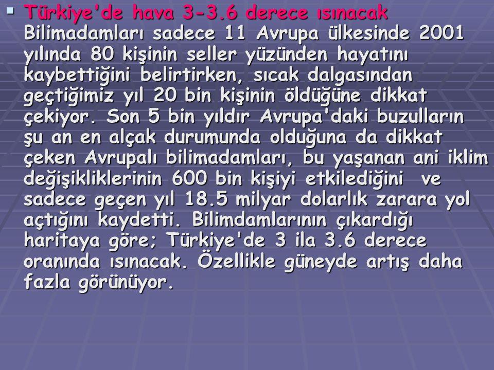 TTTTürkiye'de hava 3-3.6 derece ısınacak Bilimadamları sadece 11 Avrupa ülkesinde 2001 yılında 80 kişinin seller yüzünden hayatını kaybettiğini be