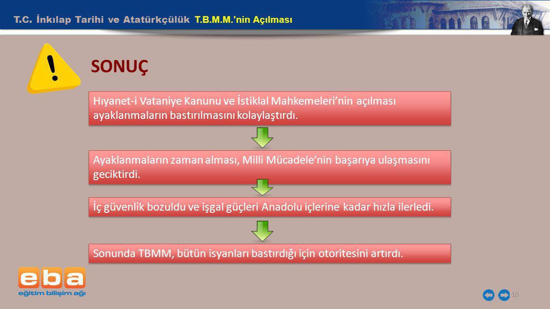 T.C. İnkılap Tarihi ve Atatürkçülük T.B.M.M.'nin Açılması 10 SONUÇ Hıyanet-i Vataniye Kanunu ve İstiklal Mahkemeleri'nin açılması ayaklanmaların bastı