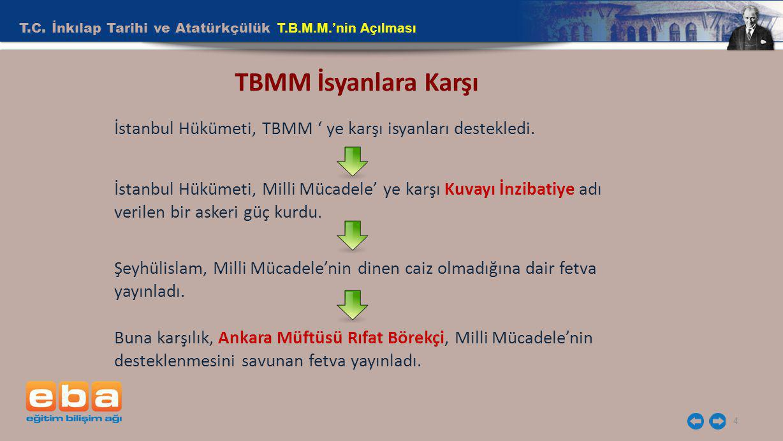 T.C. İnkılap Tarihi ve Atatürkçülük T.B.M.M.'nin Açılması 4 TBMM İsyanlara Karşı İstanbul Hükümeti, TBMM ' ye karşı isyanları destekledi. İstanbul Hük