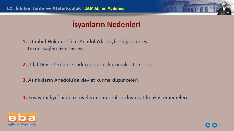 T.C. İnkılap Tarihi ve Atatürkçülük T.B.M.M.'nin Açılması 5 İsyanların Nedenleri 1. İstanbul Hükümeti'nin Anadolu'da kaybettiği otoriteyi tekrar sağla