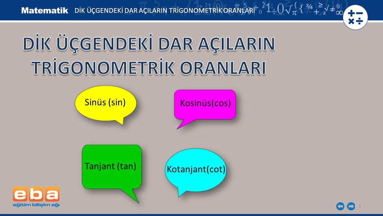 1 DİK ÜÇGENDEKİ DAR AÇILARIN TRİGONOMETRİK ORANLARI Sinüs (sin) Kosinüs(cos) Tanjant (tan) Kotanjant(cot)